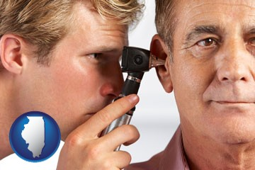 an audiologist examining the ear of a patient - with Illinois icon